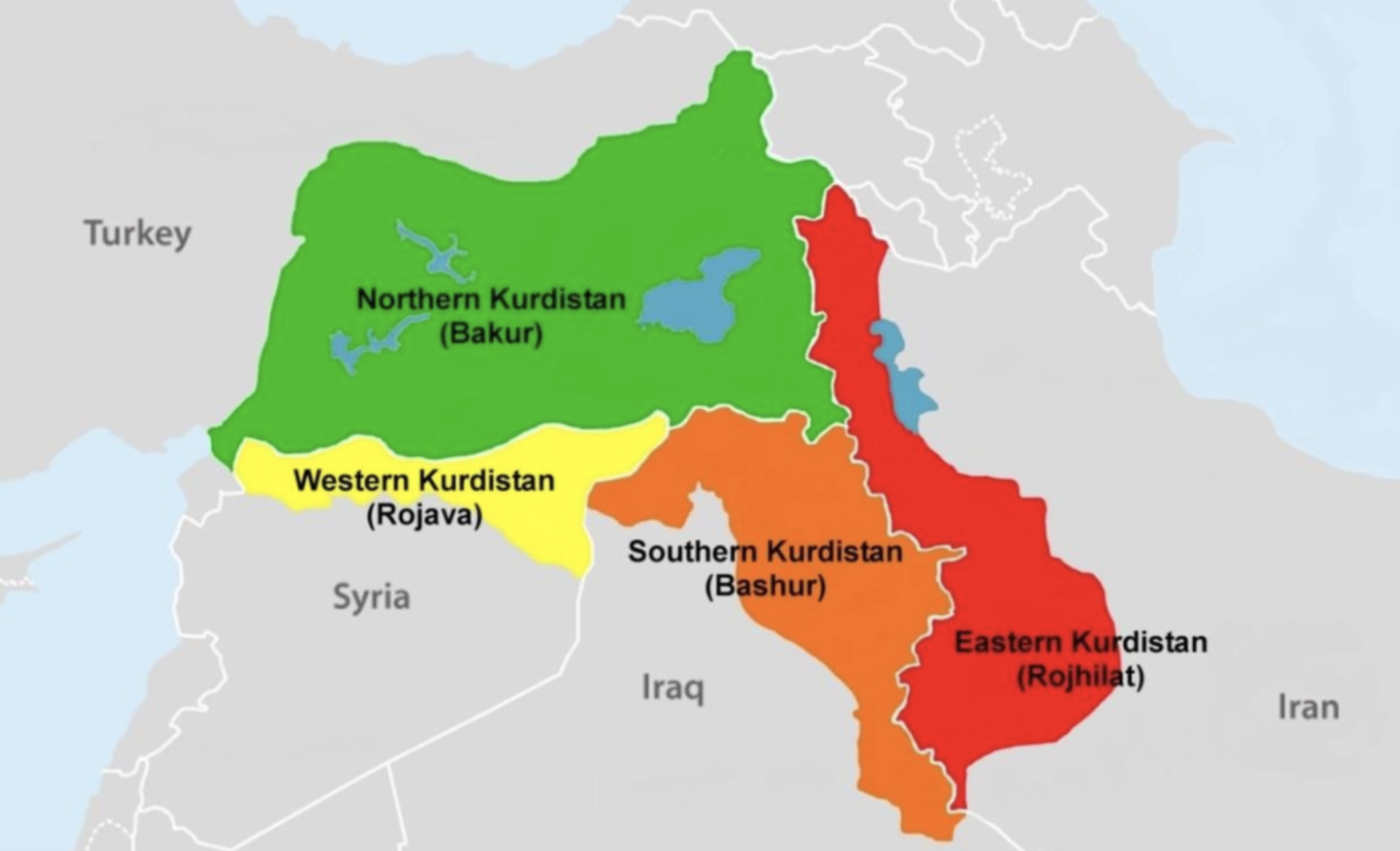"Greater Kurdistan is divided into four geographical regions   Redcrow, Thoreau. ""Shooting out of Love: A Case Study on Kurdish Guerrillas in the PKK (Kurdistan Workers' Party)."" (2017)."