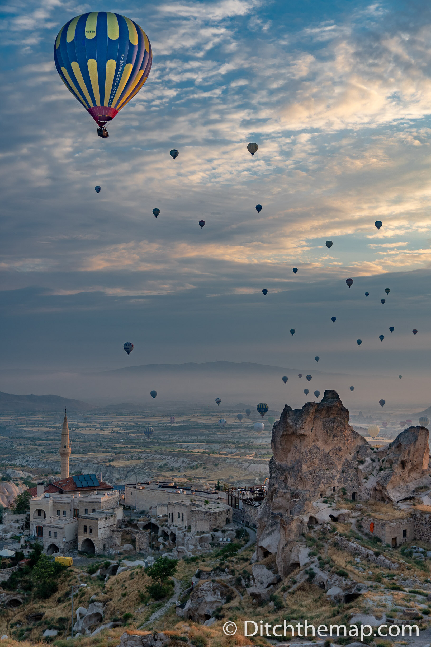 Watching Balloons at sunrise in Cappadocia, Turkey