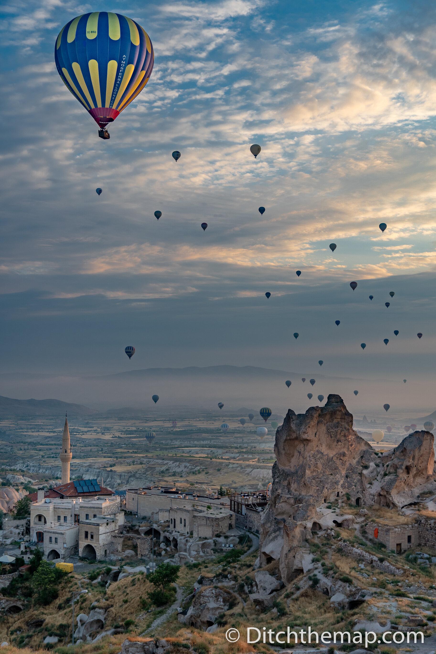 Watching the hot air balloons in Cappadocia