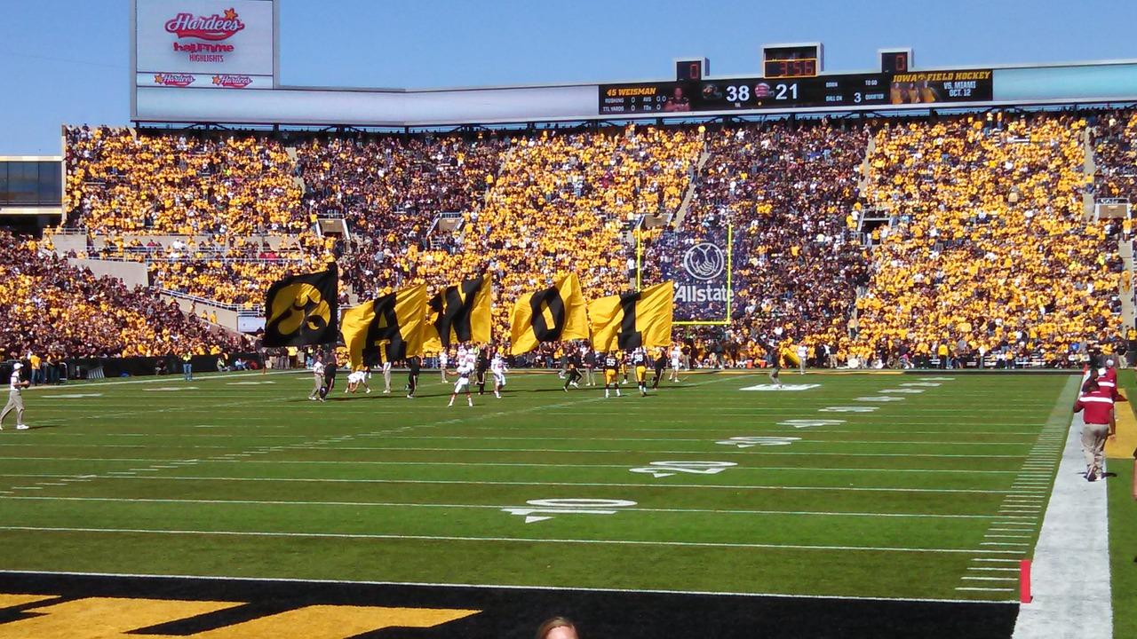 Inside football stadium at Iowa City, Iowa