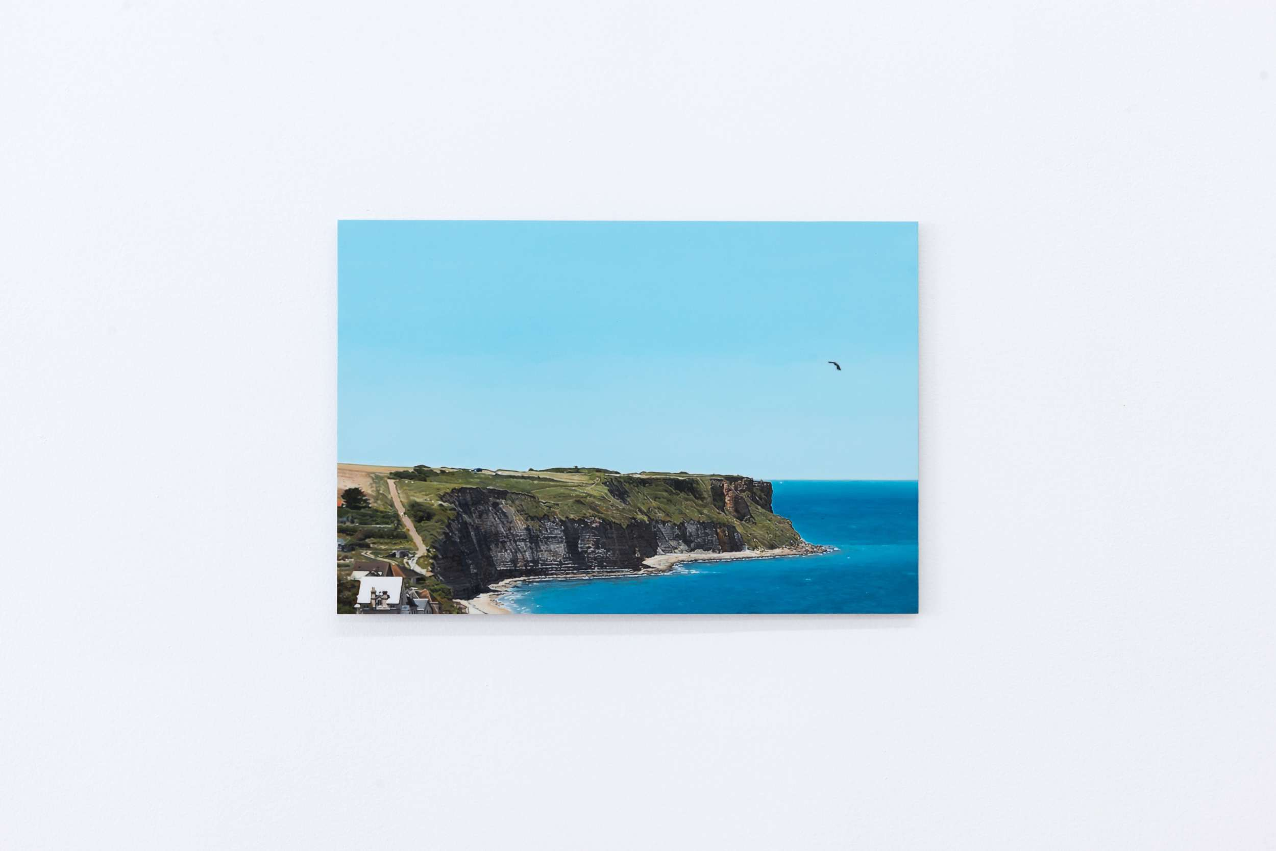 Anna Plesset   The Pretense of Beauty I: Mulberry Harbour, Arromanches (Golden Arrow) ,  2015  Oil on Dibond 9 ½ x 14 inches