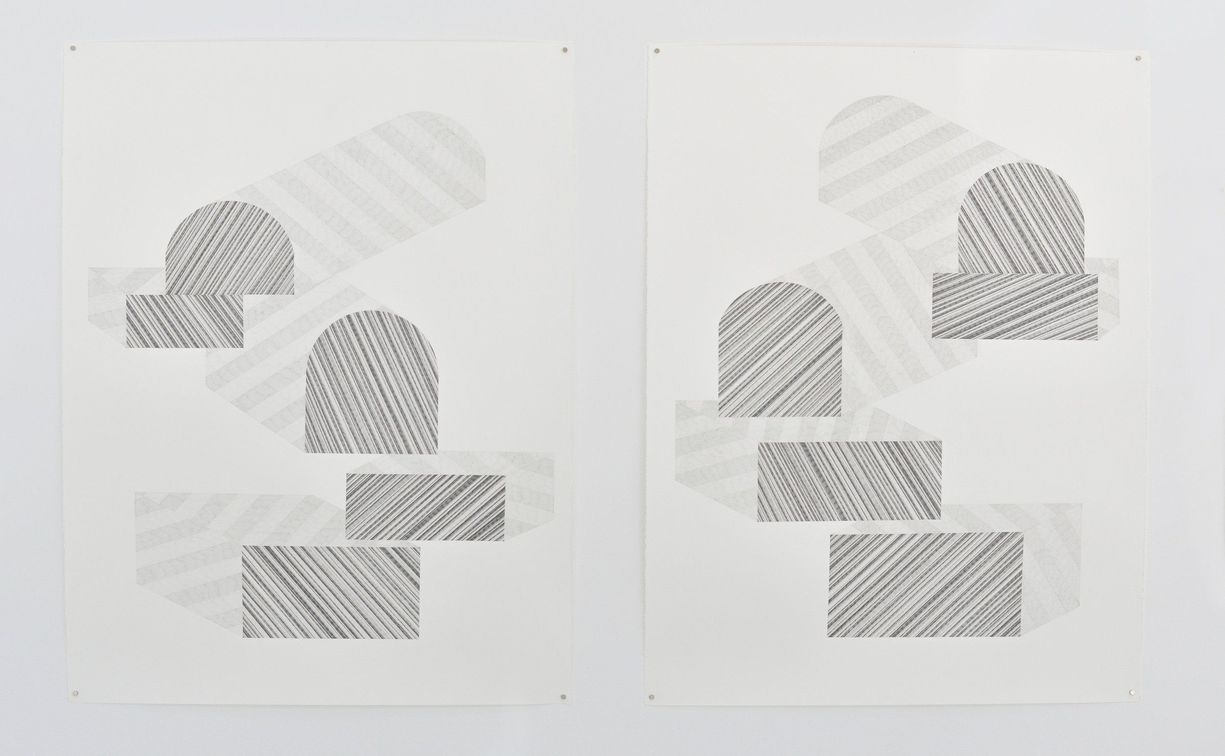 Karin Haas  left:  Stripe Two ,  2015 , right:  Stripe One ,  2015  Graphite on paper 38 x 50 inches