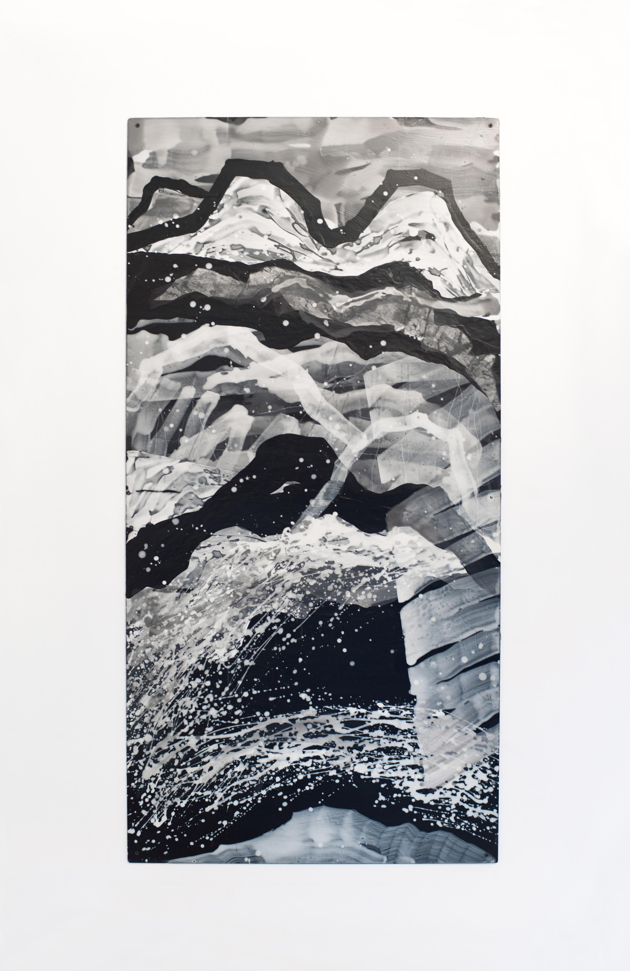 Nancy Manter    Endless Landscape #1 , 2012   Collage, distemper on aluminum panel  60 x 40 inches
