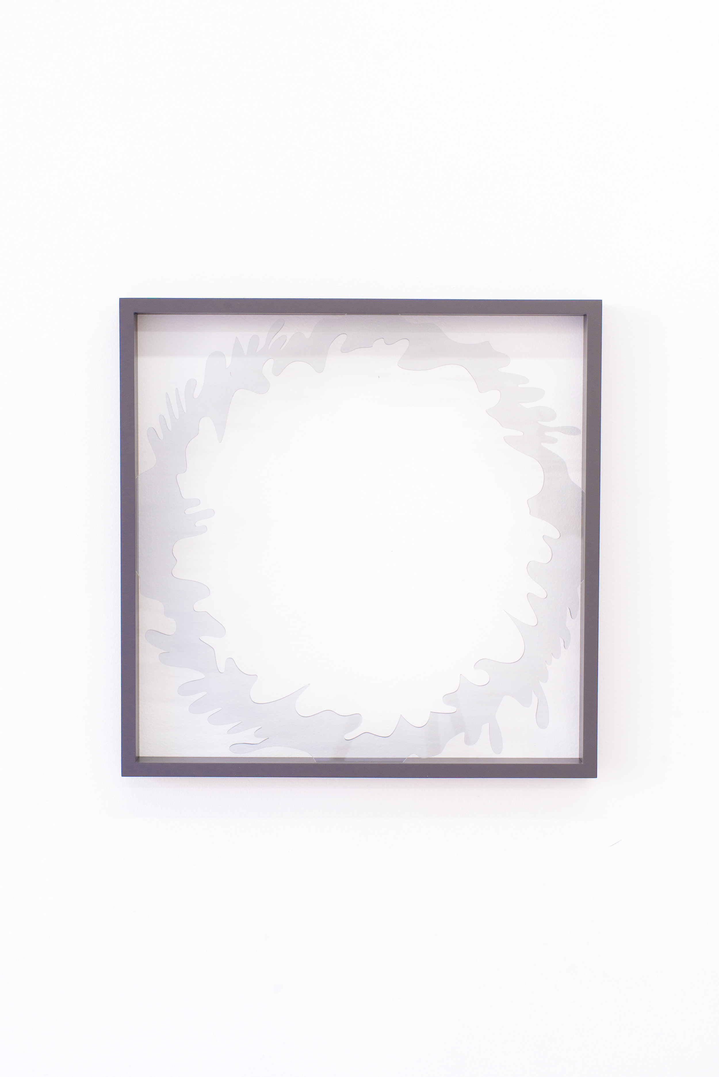 Anna Sagström   (You gave me a ring of glass) And it broke and love ended , 2016 Acrylic glass, painted frame 15.75 x 15.75 inches