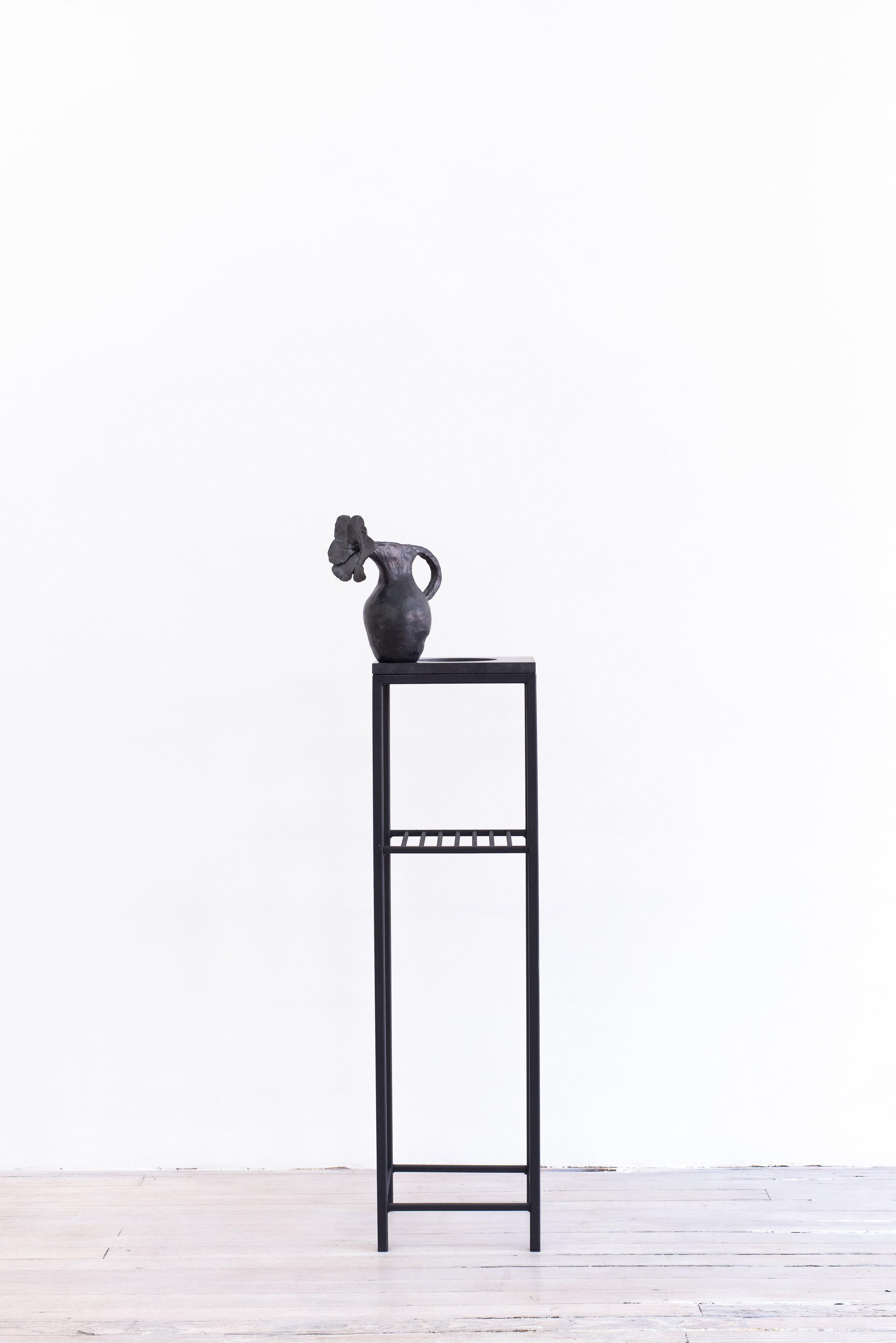 Elizabeth Jaeger   Untitled , 2016 Ceramic, vase 9.5 x 11.25 x 5.5 inches, pedestal: 49.5 x 12 x 10 inches