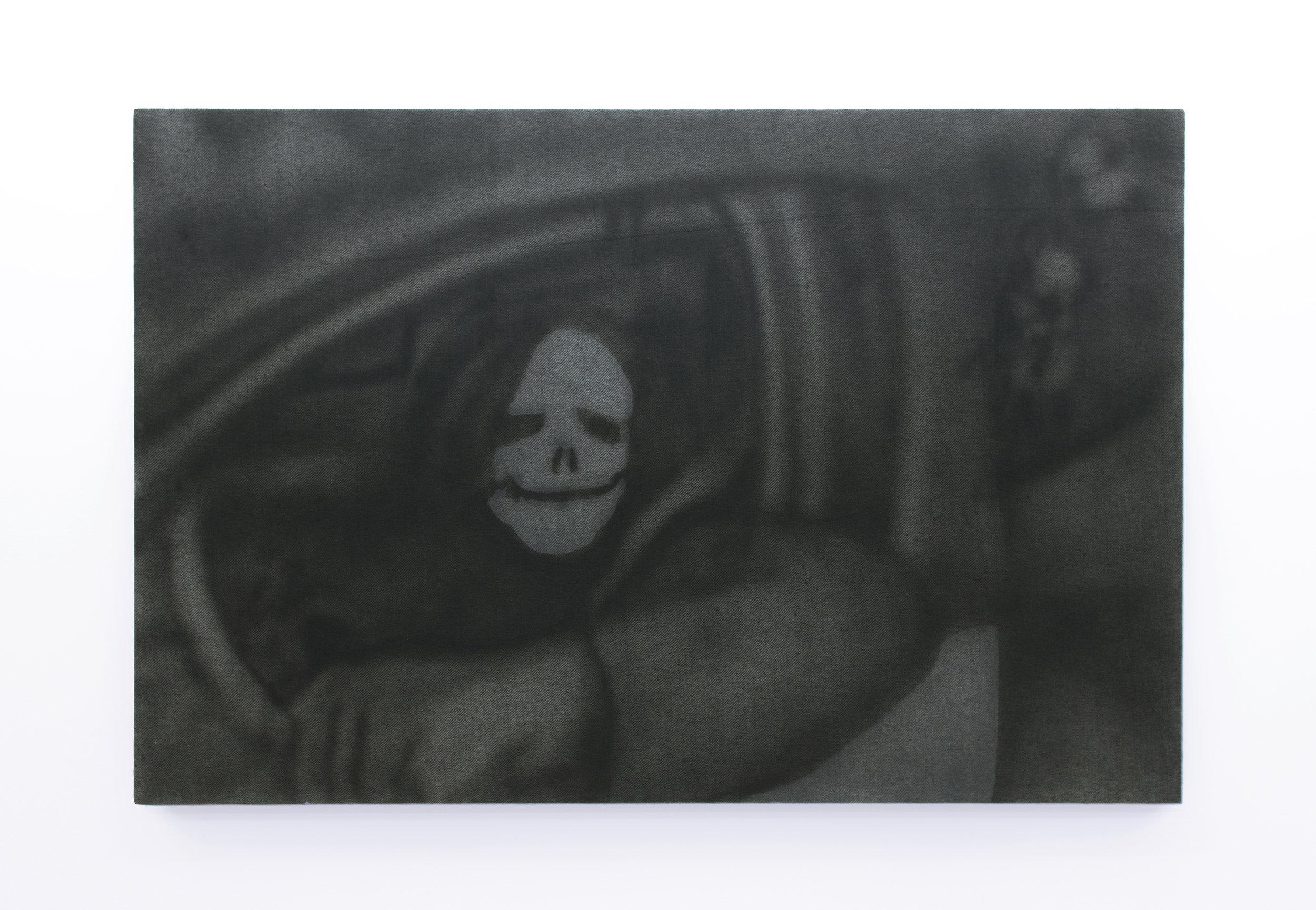 Ian Swanson   Untitled (ATM withdrawal),  2016 Acrylic on denim