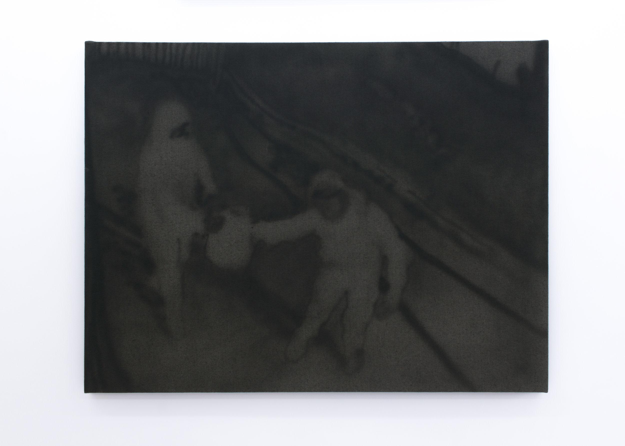 Ian Swanson   Untitled (ATM explosive),  2016 Acrylic on denim over linen