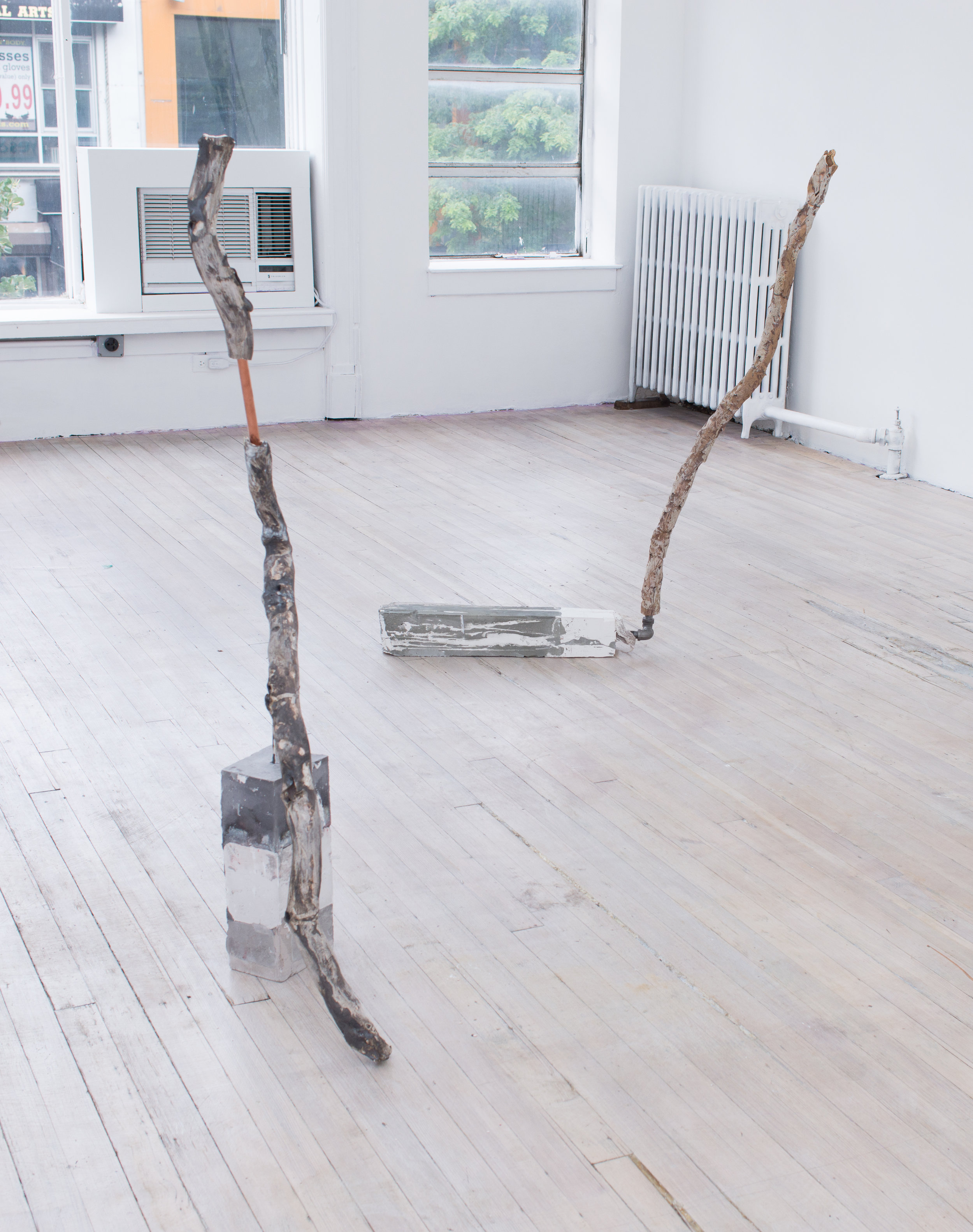 Afra Al Dhaheri   Untitled (Gestural),  2017 Cement, ceramic, plaster, fabric, copper Dimensions variable
