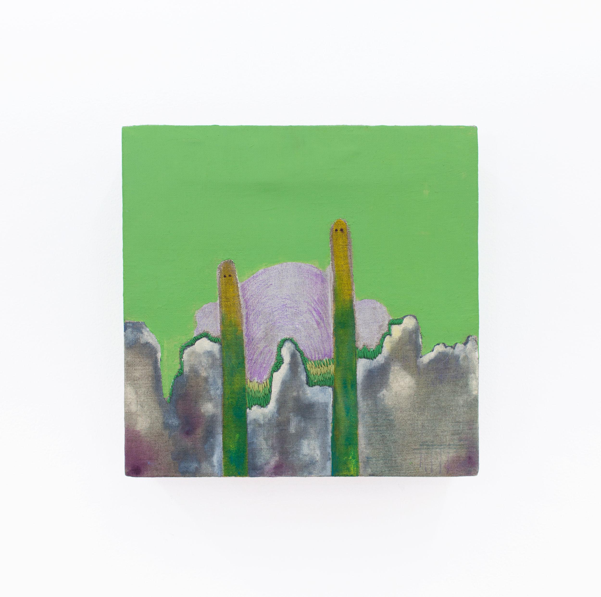 Sofia Ortiz   Cactus,  2017 Acrylic, pencil, gouache, thread on linen 12 x 12 x 4 inches