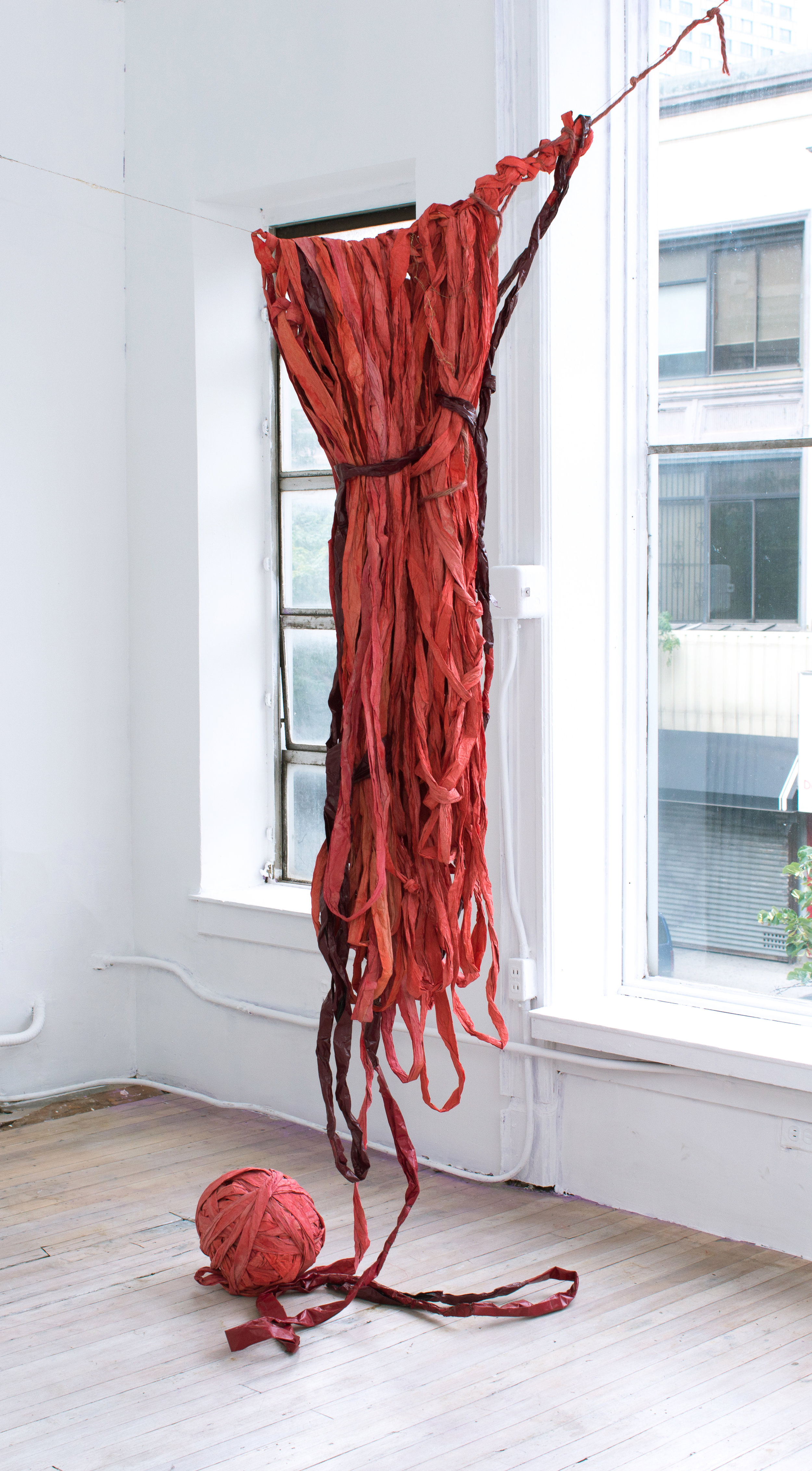 Susan Doe   Threaded Red,  2017 Dyed paper and wire Dimensions variable