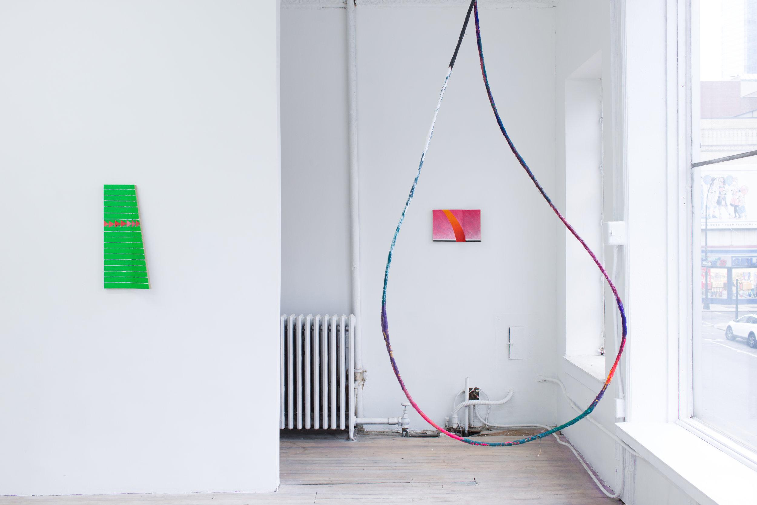 Fabienne Lasserre   Larmes 3 (outline),  2018 Steel, linen, acrylic polymer, enamel and acrylic paint 94 x 45.5 x 1.25 inches