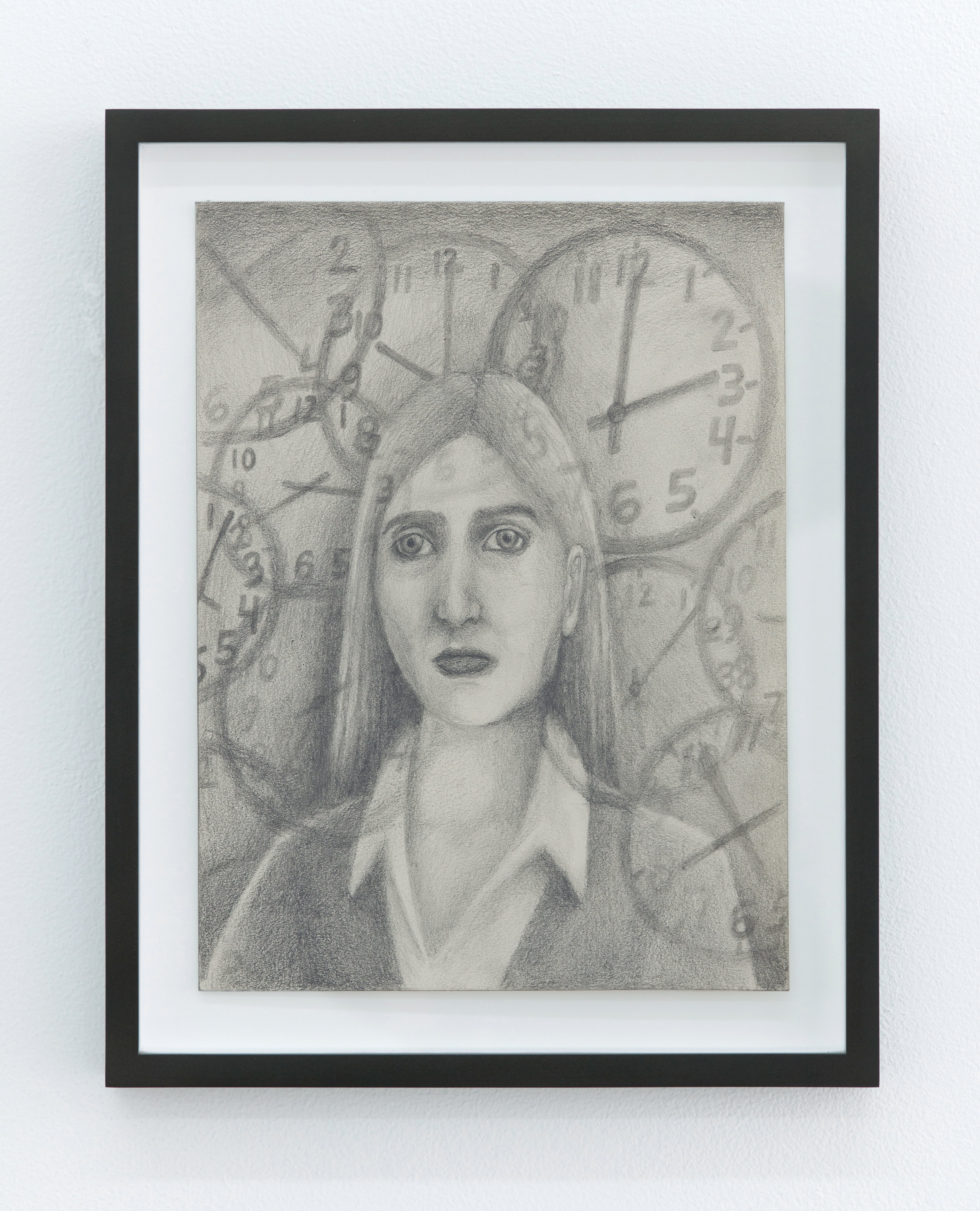 Vanessa Gully Santiago   Clock Watcher,  2018 Graphite on paper 10 x 8 inches