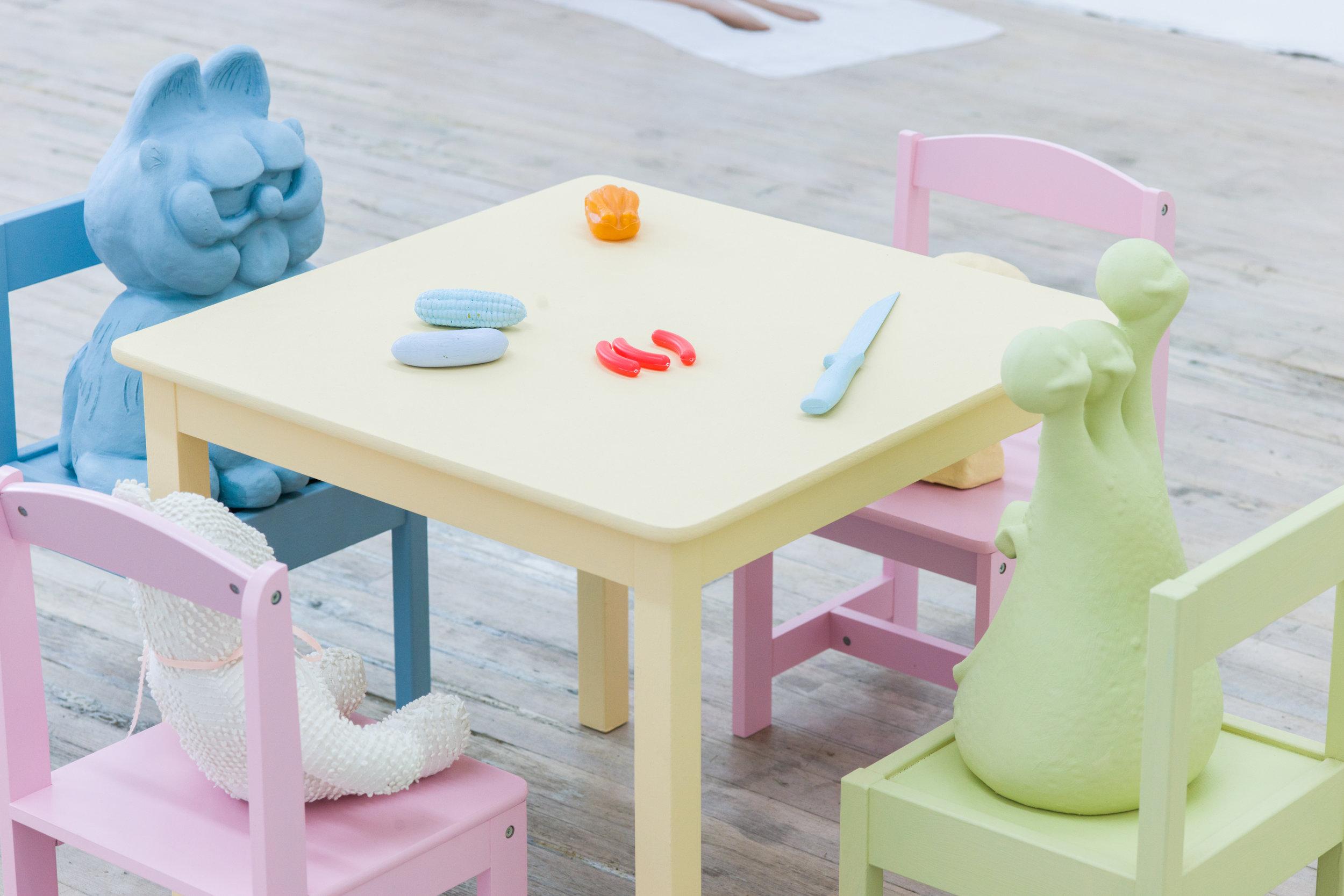 Brian Kokoska   Tea Party (Make A Deathwish),  2018  Wood, acrylic, plastic, metal, vintage teddy bear, glass, clay 46.5 x 44 x 26 inches