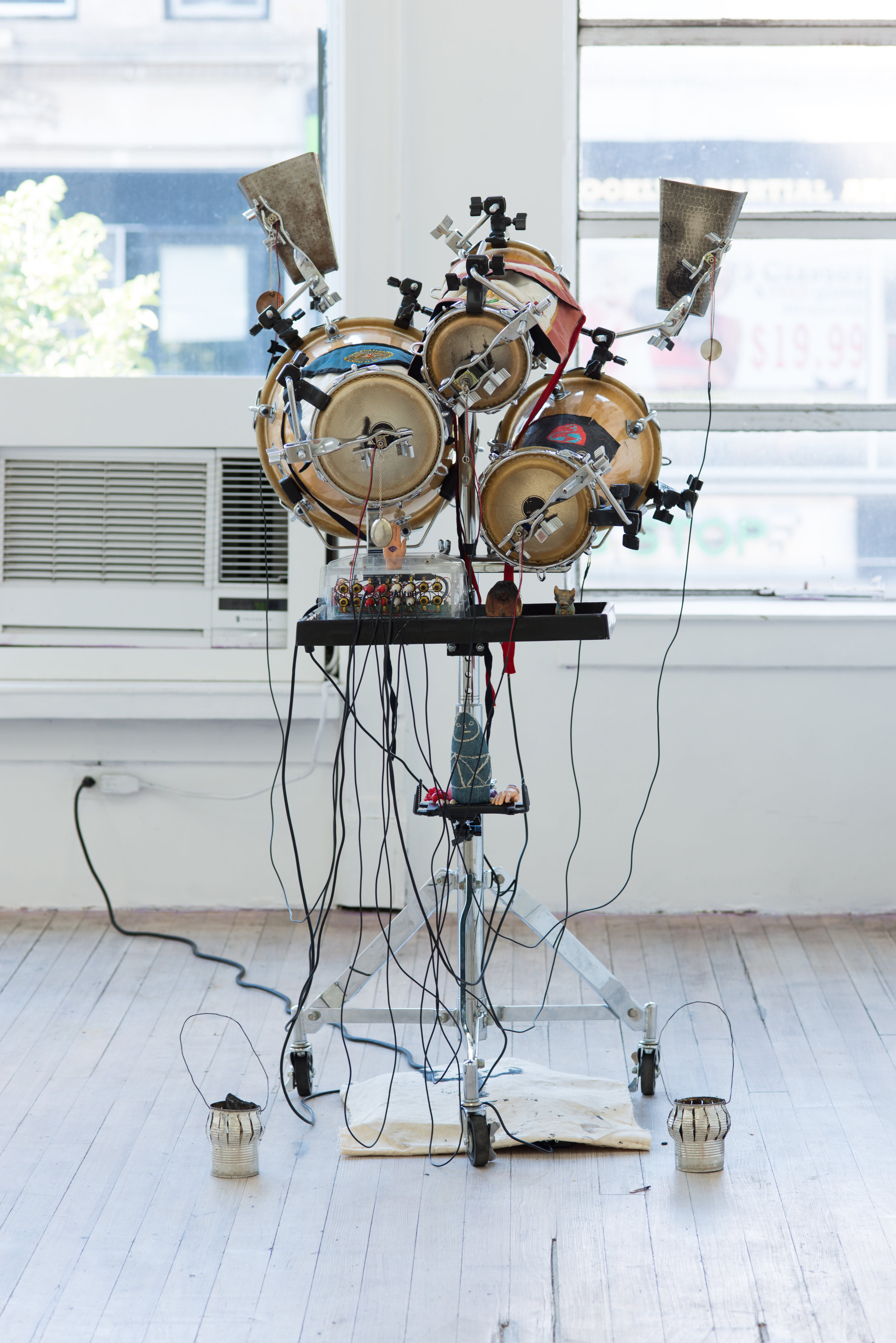 Efrain Rozas   Prosthesis 1 , from the series Myth and Prosthesis, 2018 Custom software, bata drums, solenoid motors, percussion hardware, and assorted found objects Dimensions variable