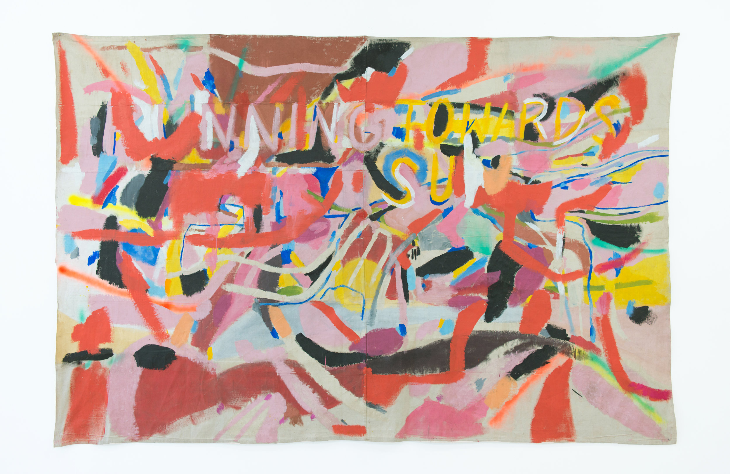 Grace Rosario Perkins   Running Towards the Sun , 2018 Acrylic and spray paint on canvas 71 x 106 inches
