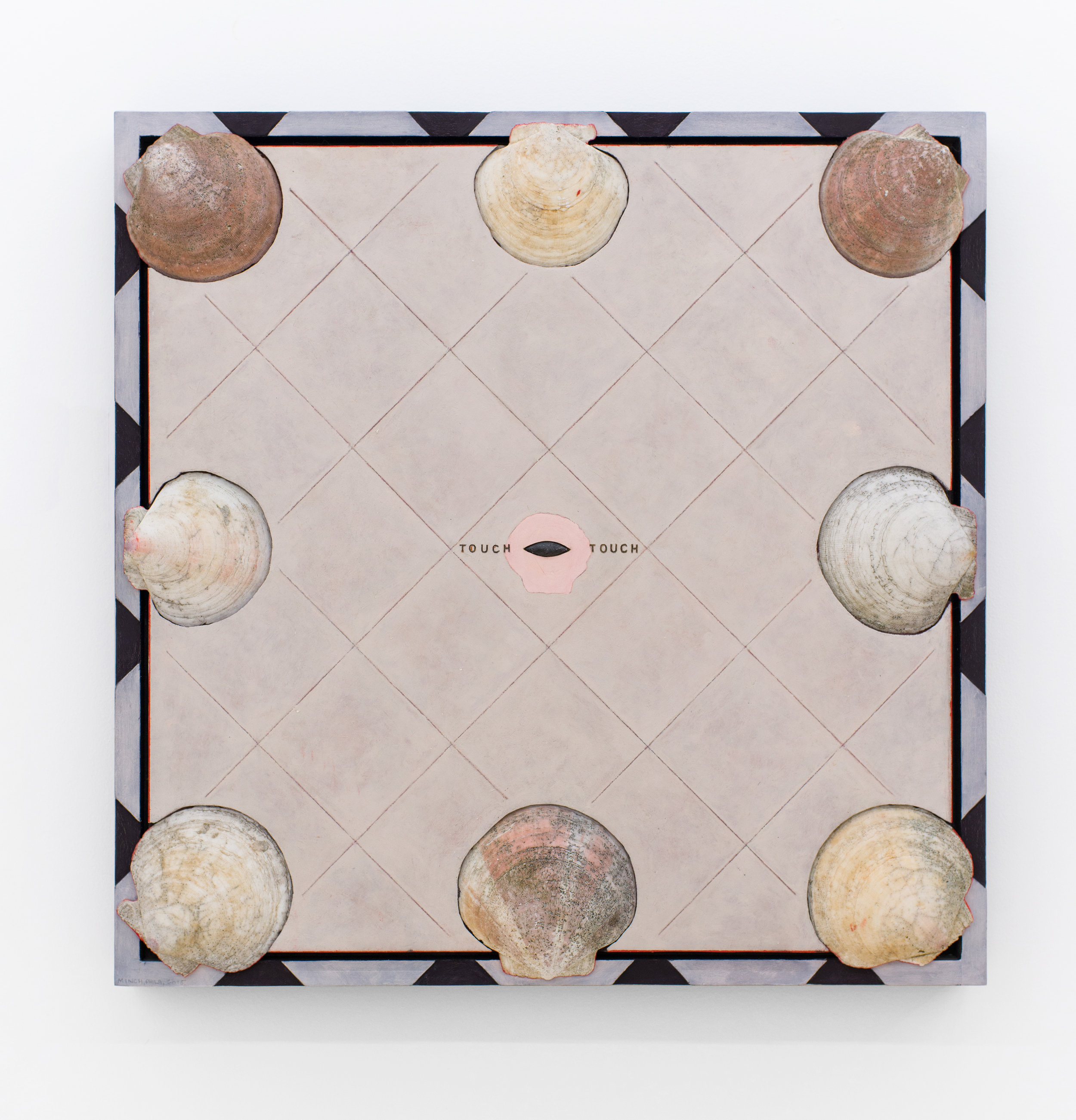 Anne Minich   Touch/Touch,  2014 Oil on wood with shells and found object 25.75 x 25.75 inches