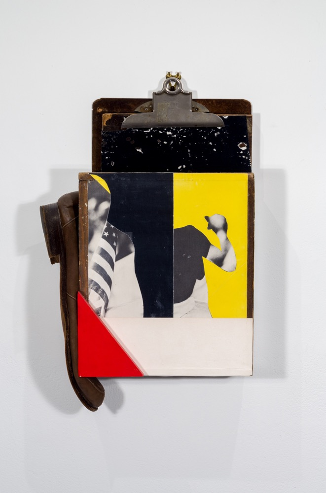 Troy Michie   Amerikan Boogie,  2017 Wood, paper, magazine cut-outs, shoe and acrylic on clipboard 15 x 9 x 4 inches