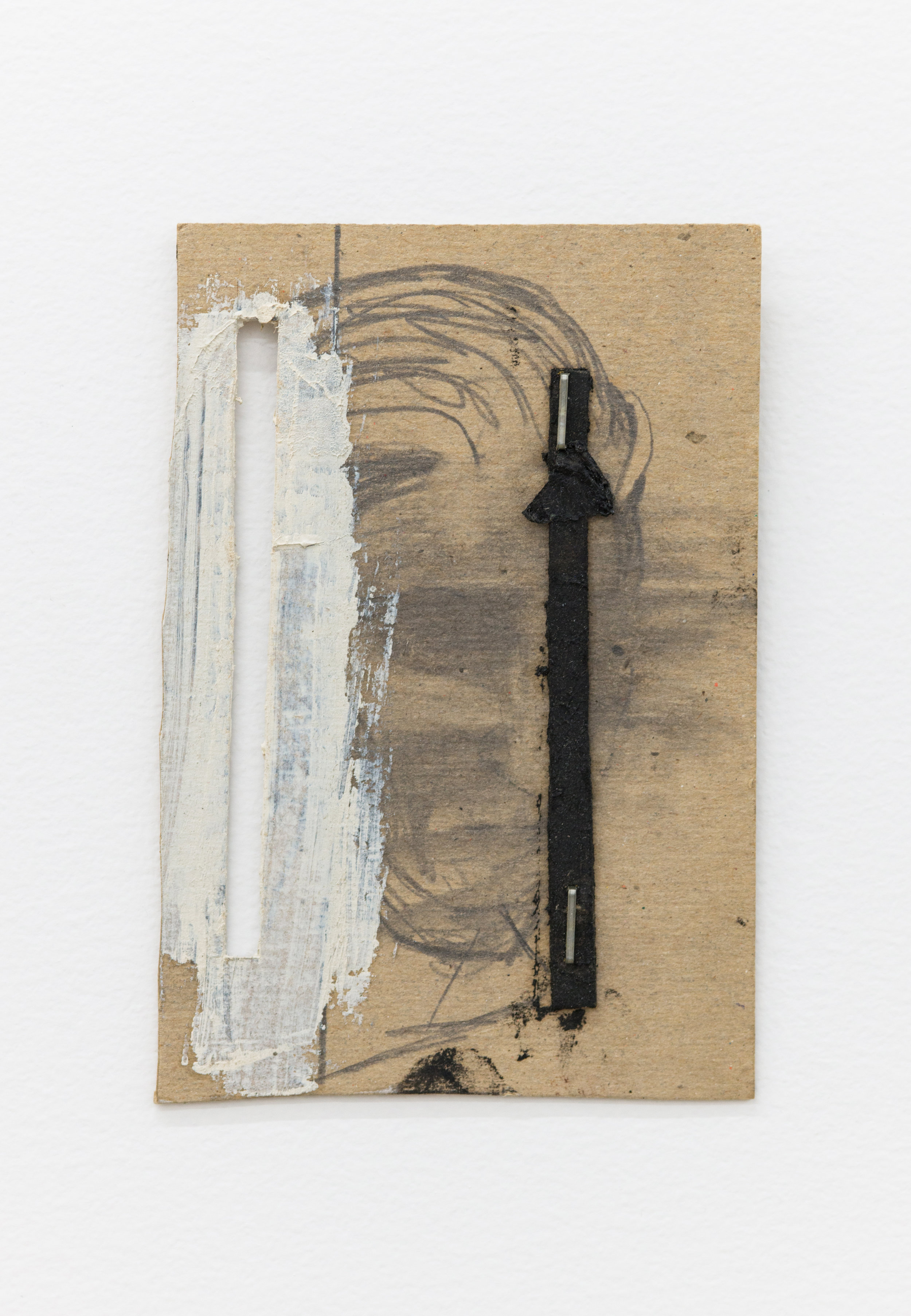 Louise Fishman   Untitled,  1994 Acrylic paint, pencil, leather on cardboard, staples 5.5 x 3.75 x .25 inches