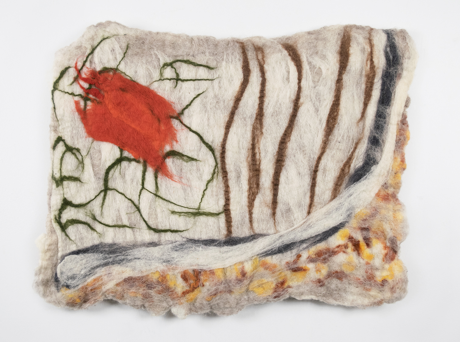 Christhian Diaz   Swath of Land (When the Land Was Fertile),  2019 Wet felted wool 20 x 27 inches