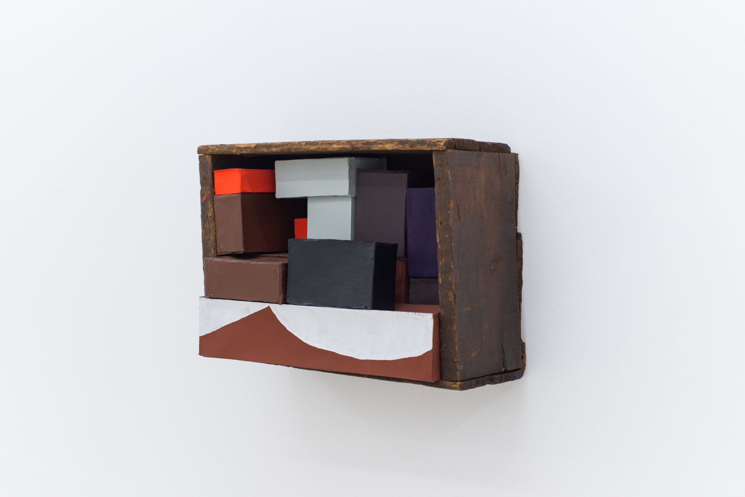 Nancy Shaver   Crooked Box, White Curve  2006 Wooden box, cardboard boxes, flash acrylic, houseplant 9 x 13 x 6 inches