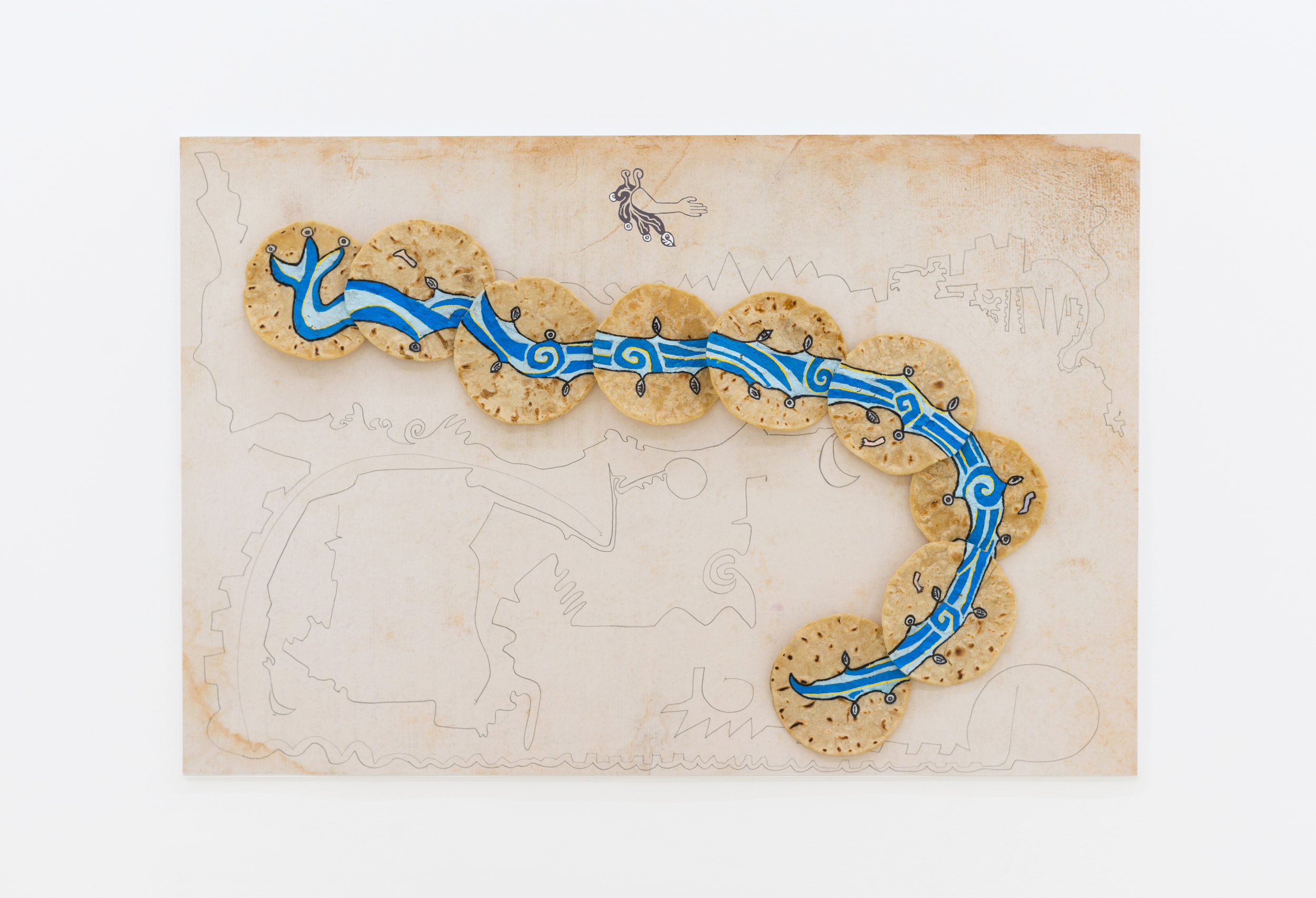 Guadalupe Maravilla   Tripa Chuca #2 (Border River),  2019 Archival ink jet print with hand drawing and tortilla painting  30 x 20 inches