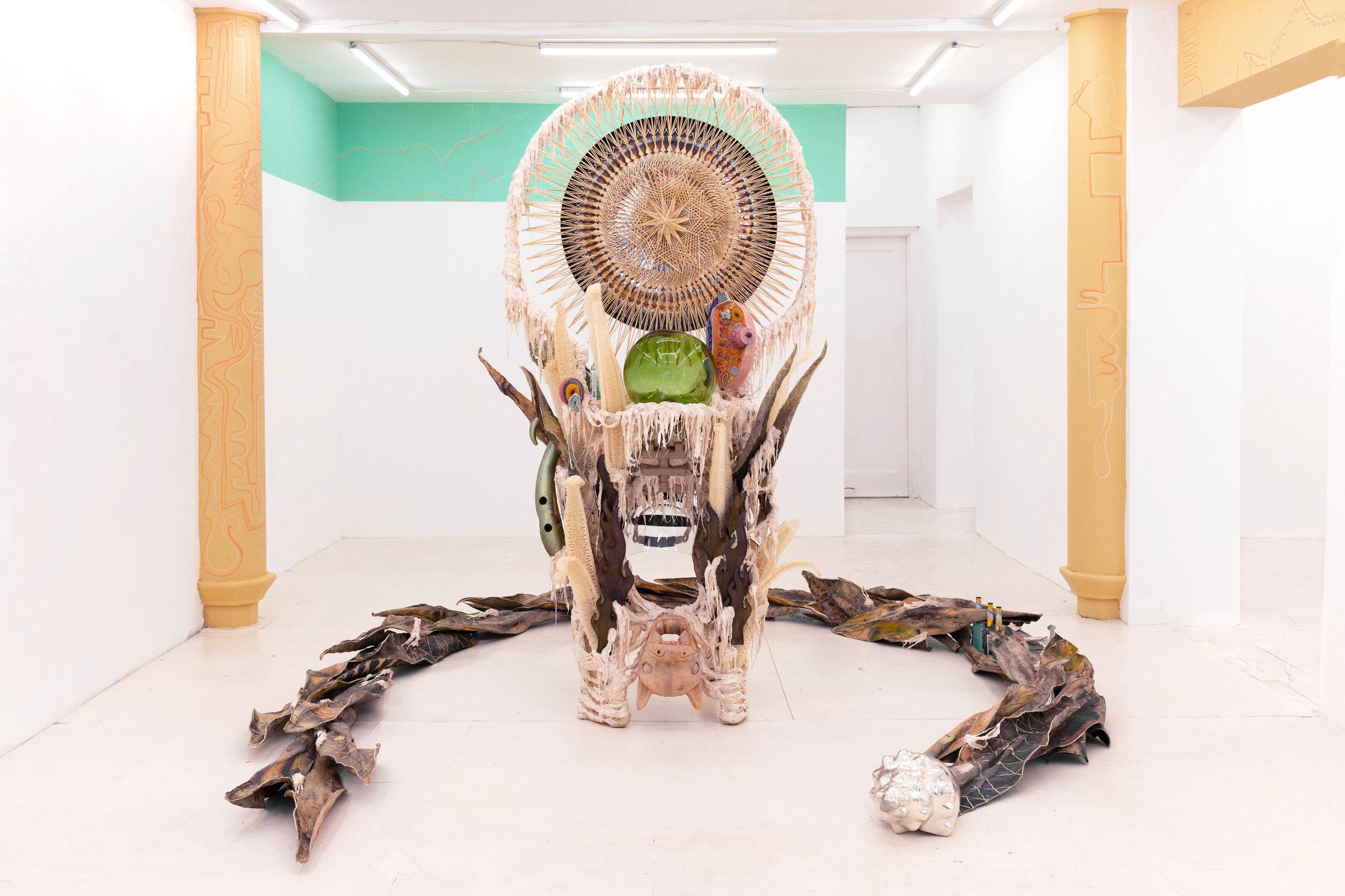 Guadalupe Maravilla   Disease Thrower #5,  2019 Mixed media sculpture/shrine/instrument/headdress  91 x 55 x 45 inches