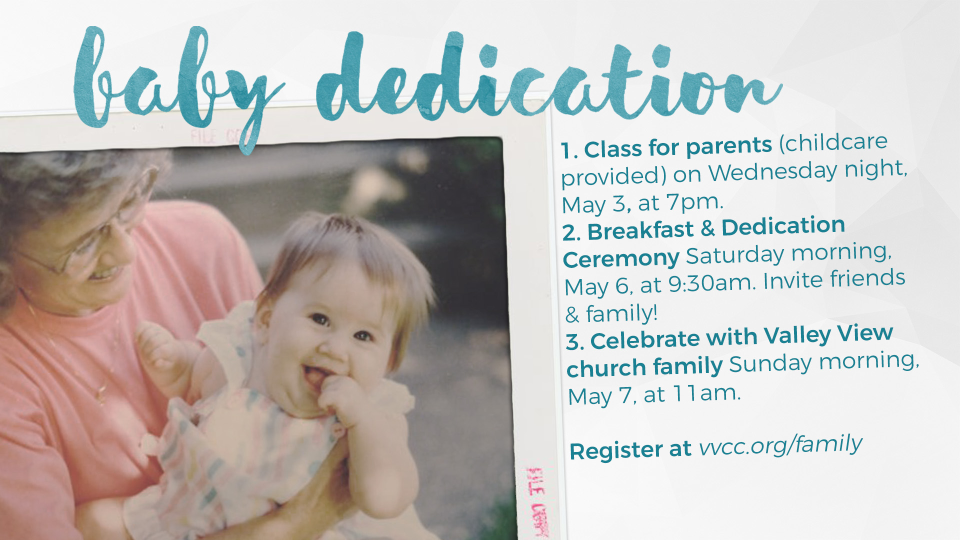 baby dedication valley view