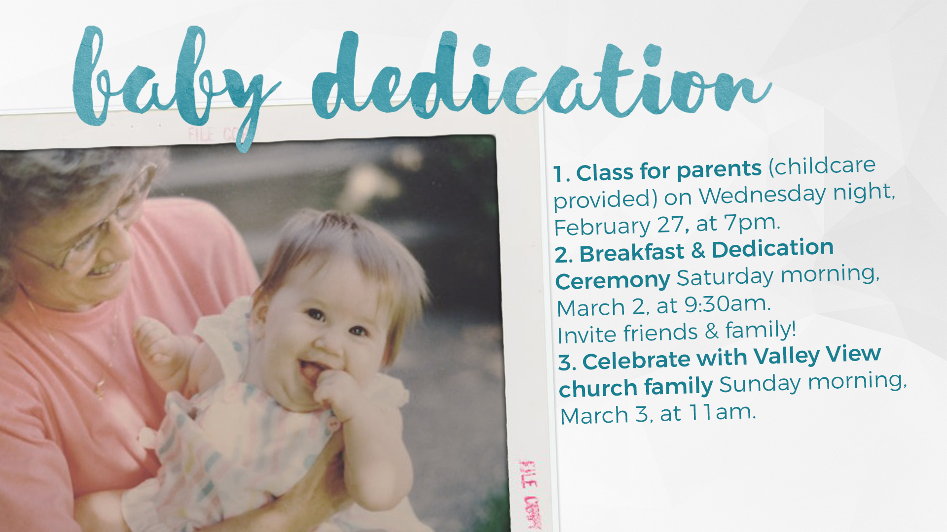 Baby Dedication Breakfast Valley