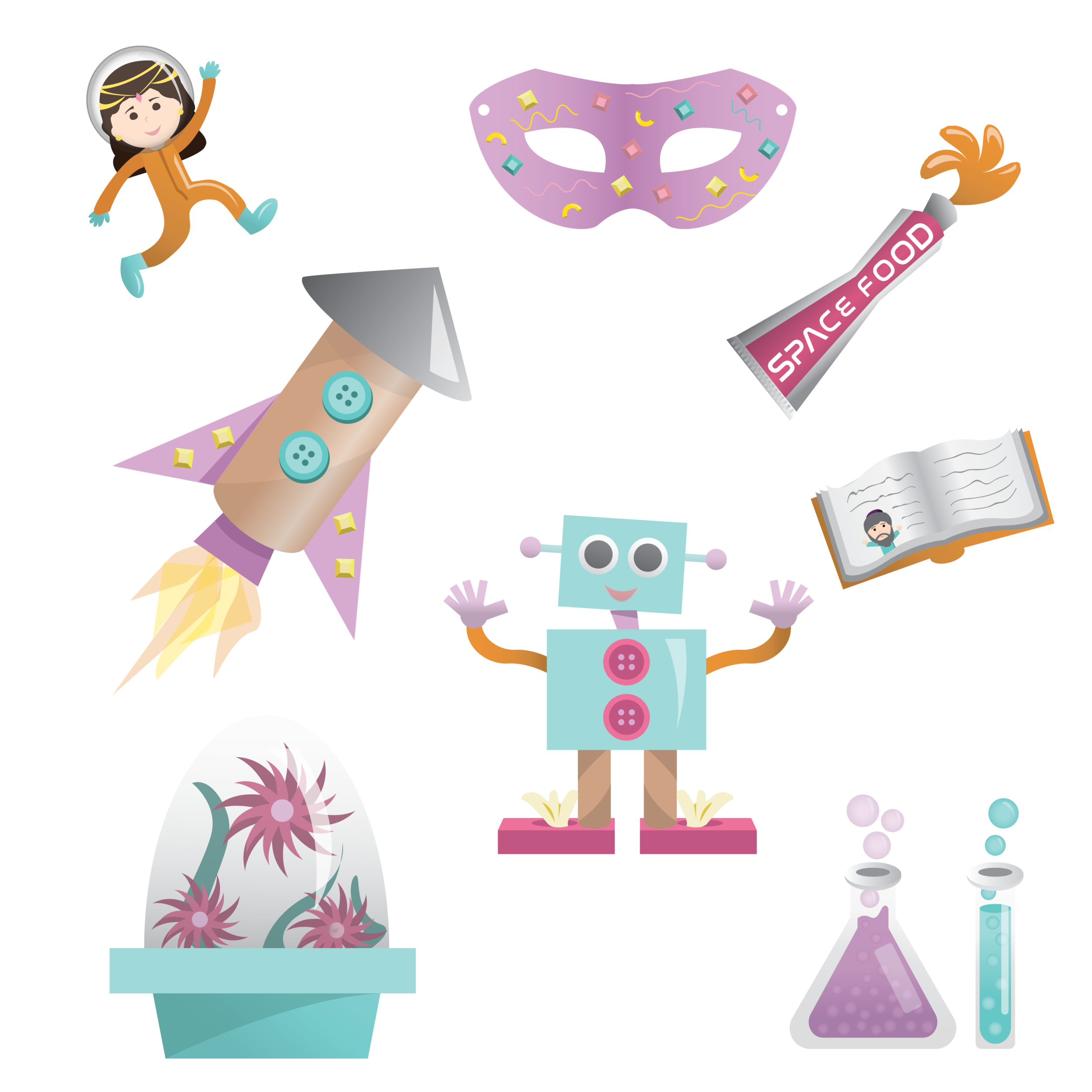 """ICONS FOR """"PURIM IN SPACE,"""" DIGITAL"""