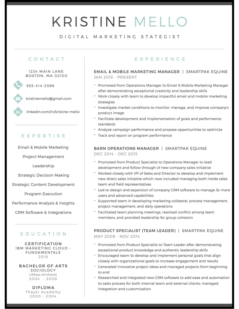 marketing resume
