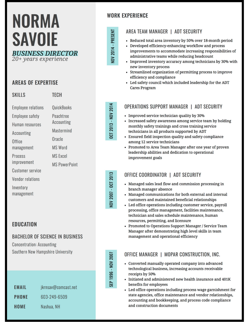 office manager modern resume