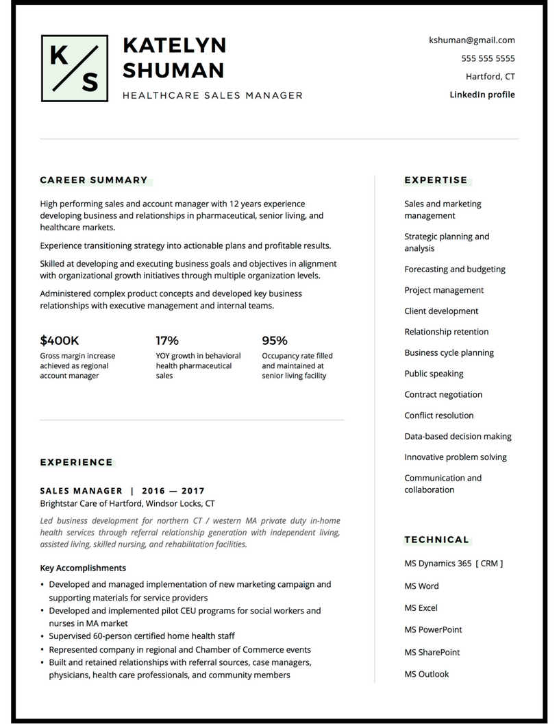 Account and sales manager resume