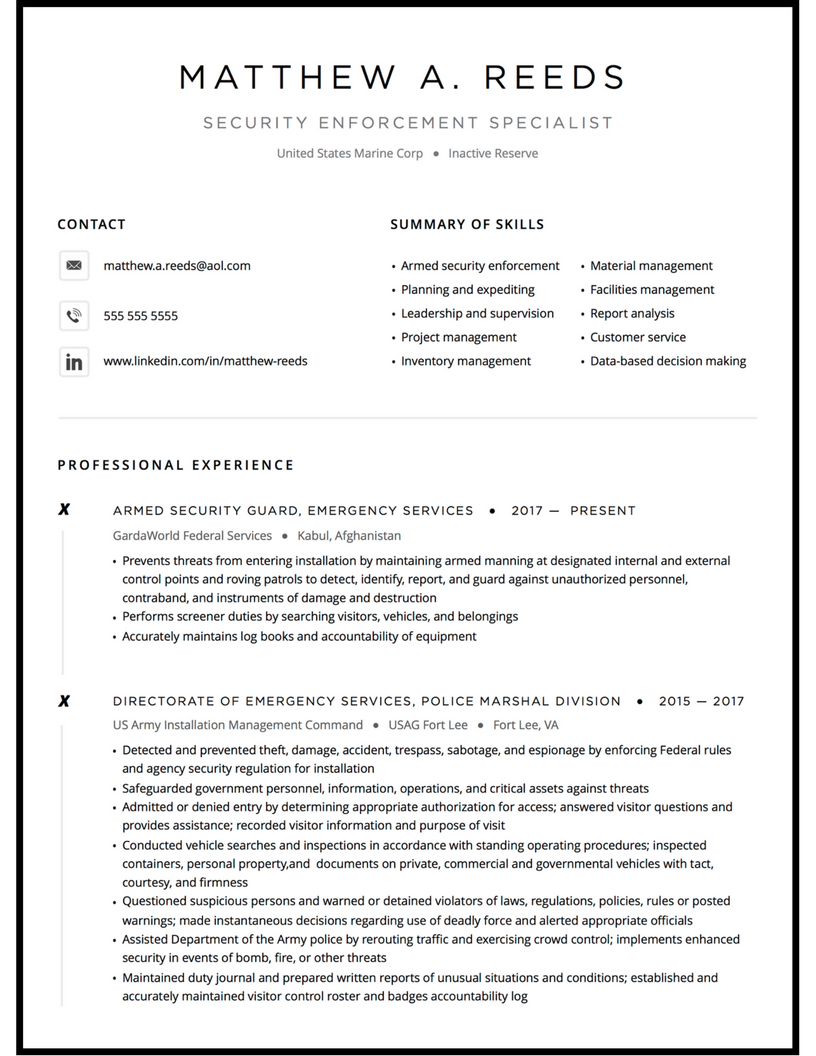 Military resume example