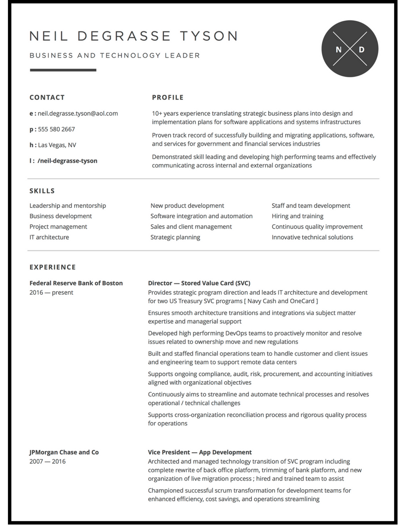 Minimalist resume for tech