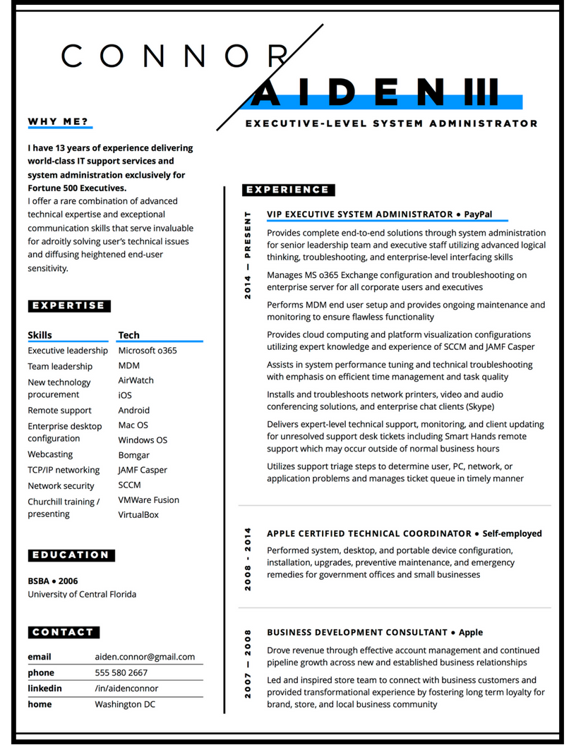 Custom resume for IT professional