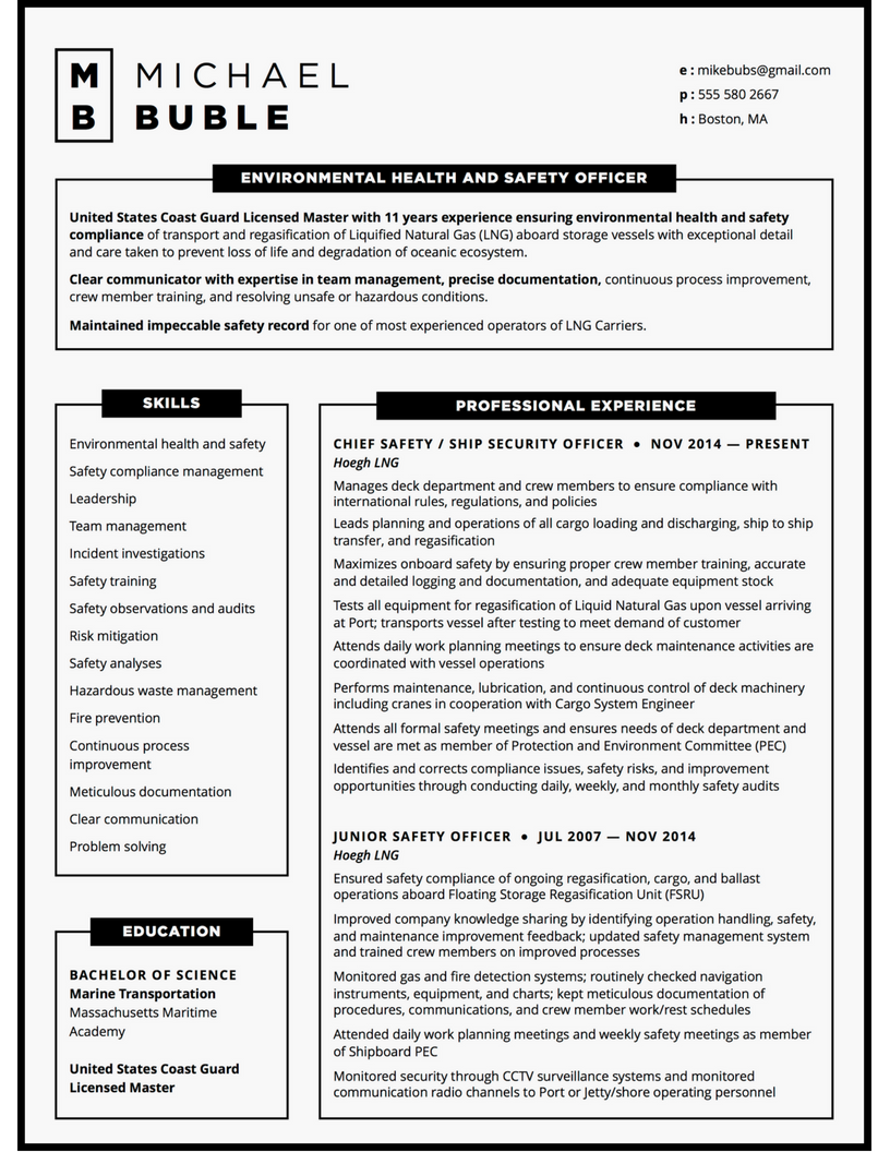 Custom resume for environmental safety officer