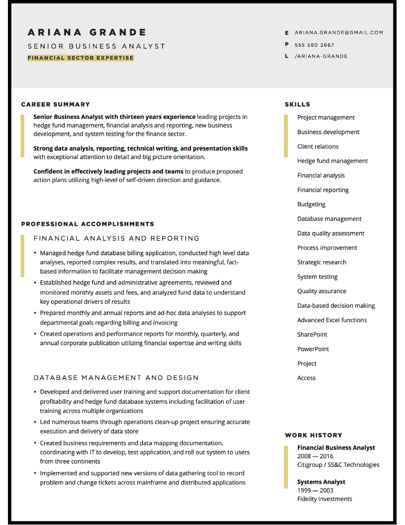 Custom resume design for business and finance analyst