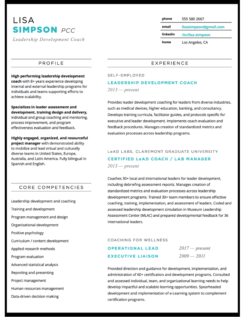Resume design for leadership development coach