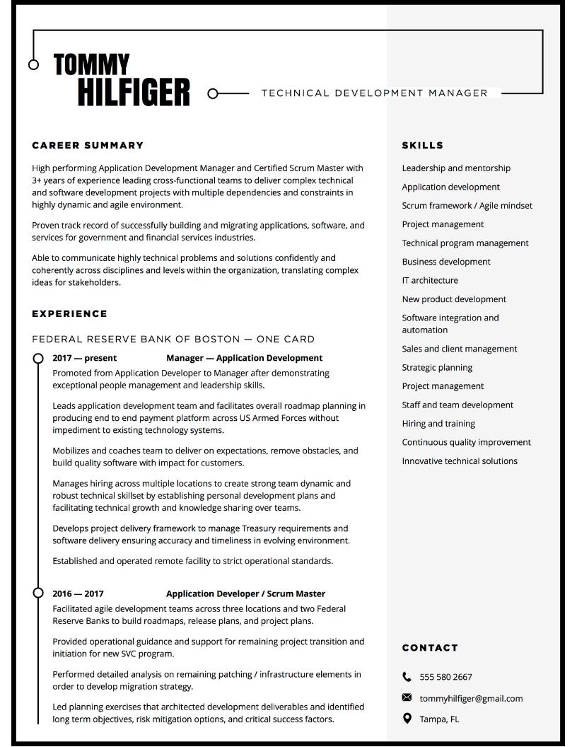 Resume design for tech leader