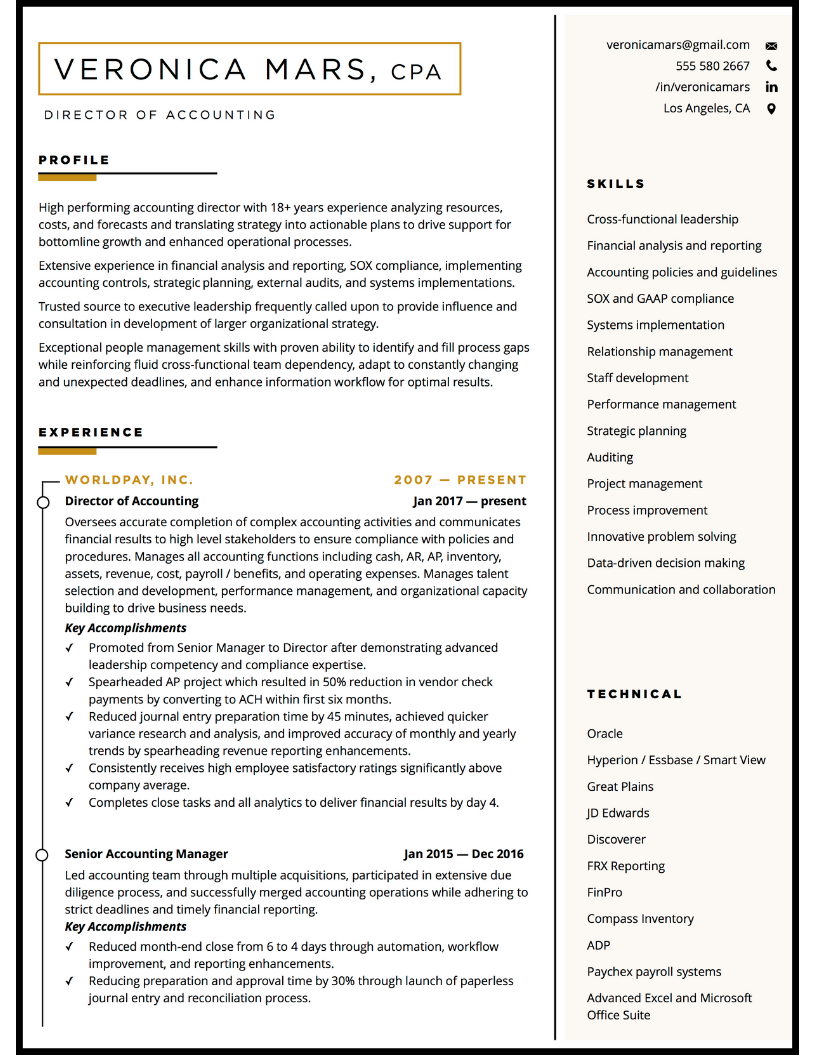 Resume sample for accounting manager