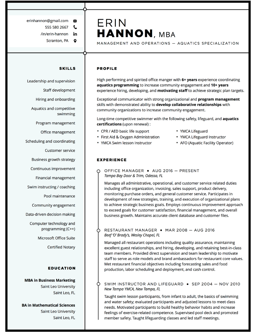 Resume writing service operations management sample