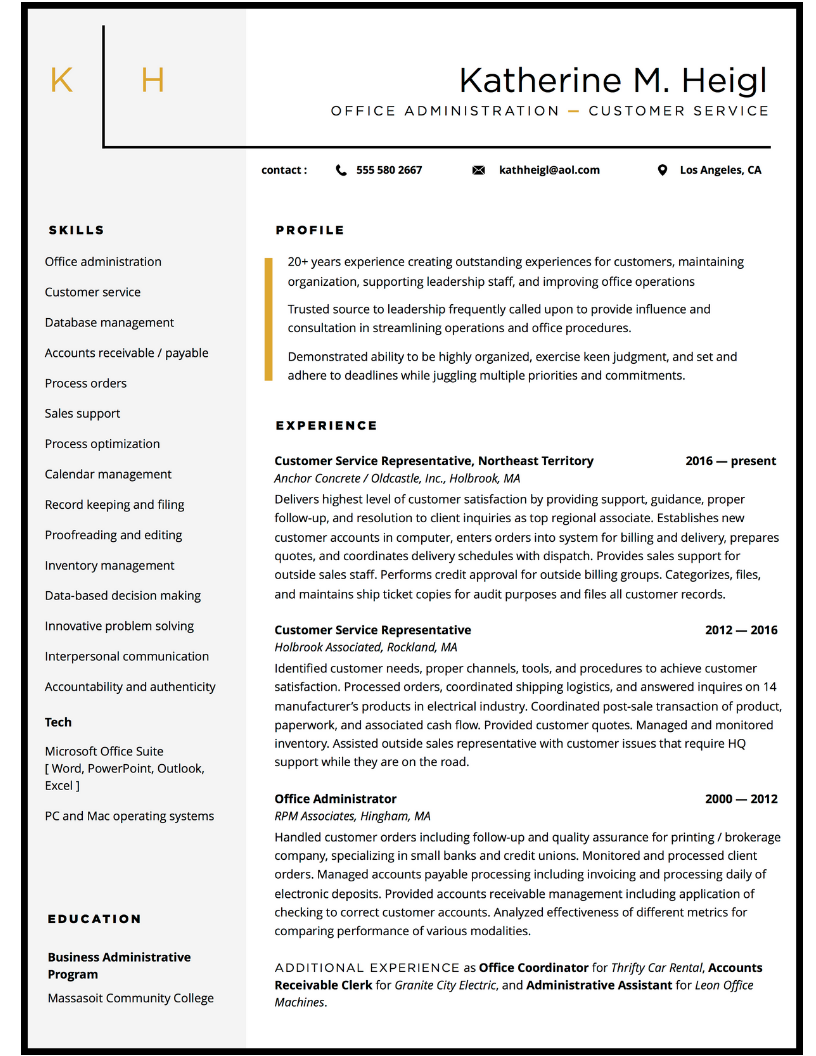 Customer service and office admin resume design