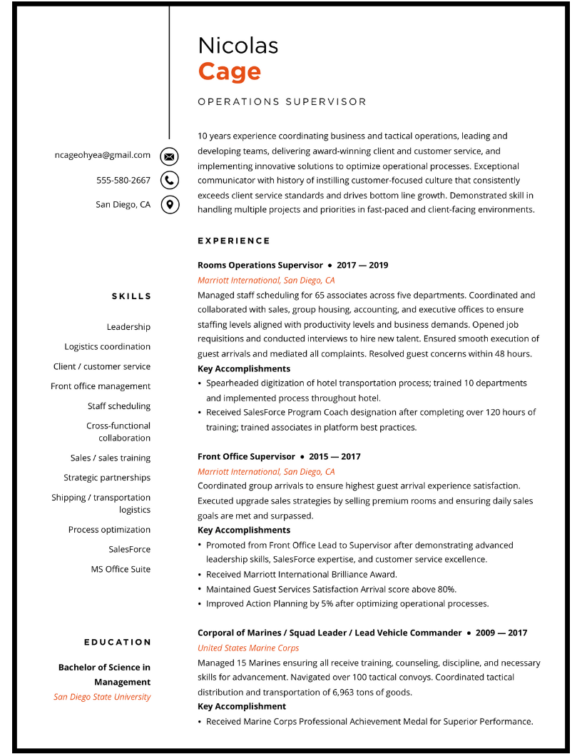 Professional Resume for Operations Supervisor