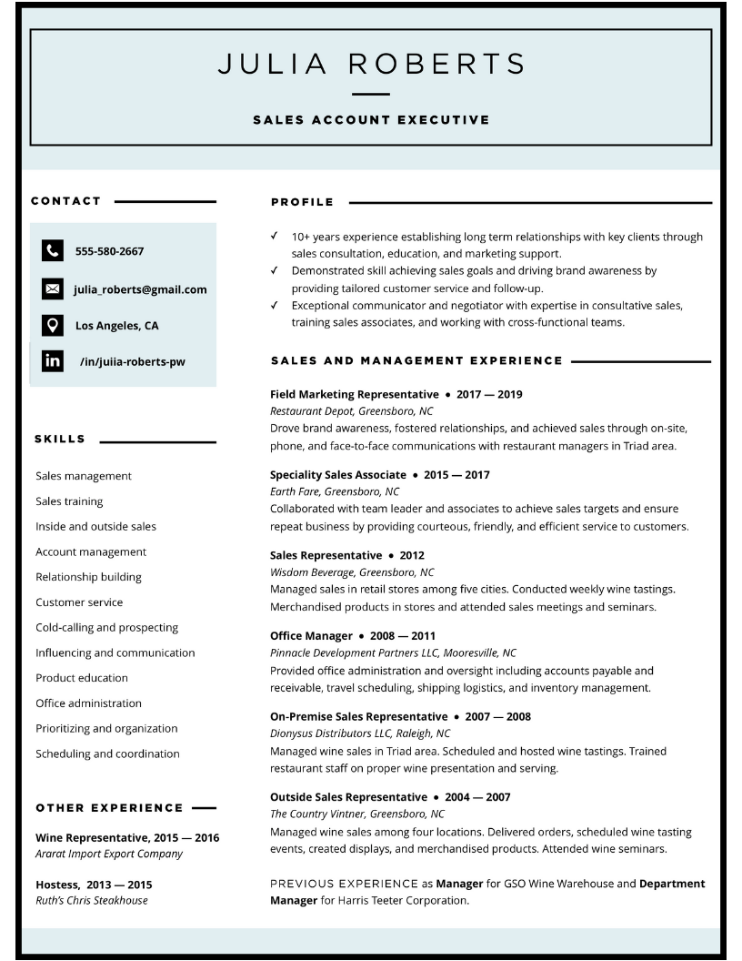 Sales account executive resume design