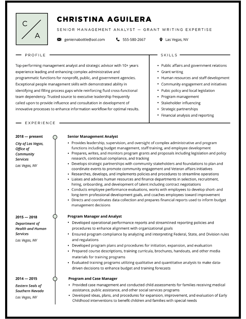 Senior Management Resume