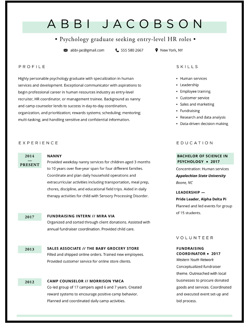 Entry-level HR / new grad resume