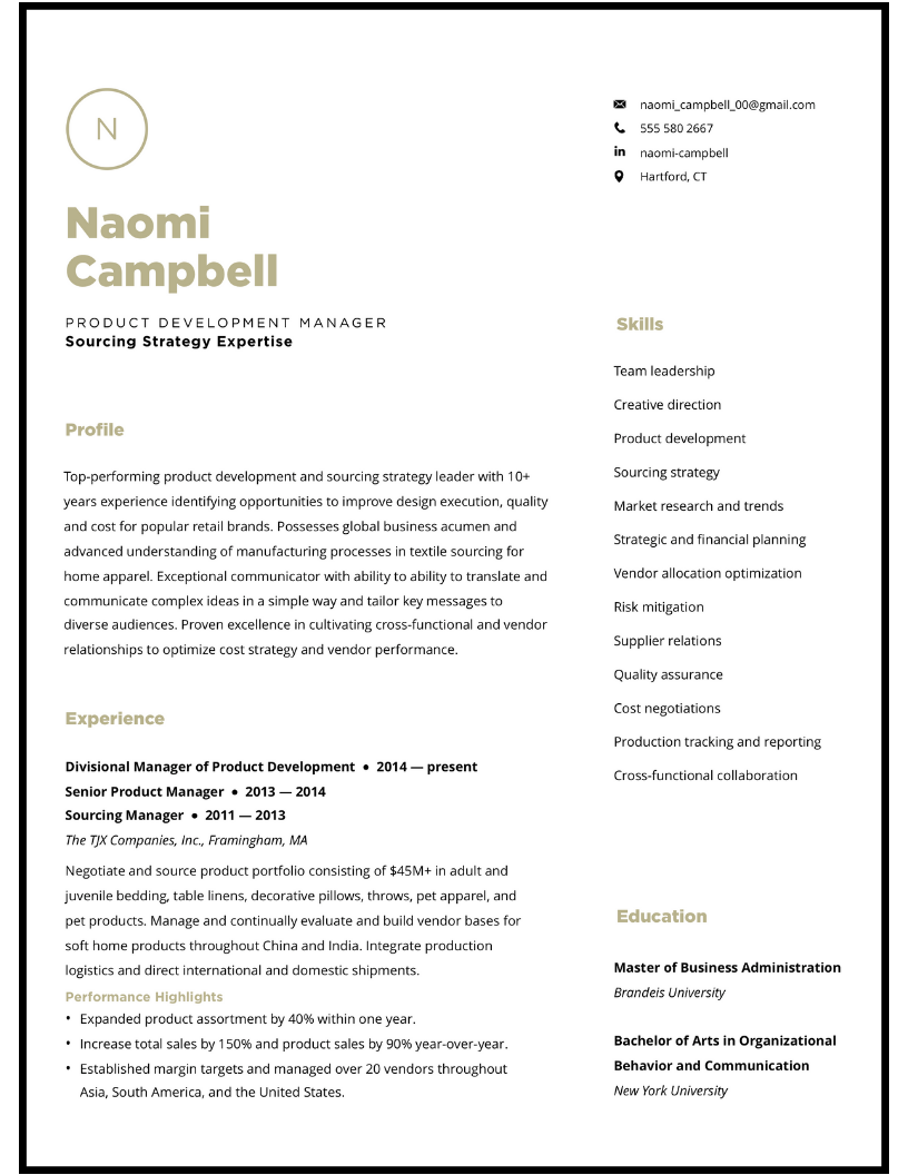 Minimalist resume design for product development