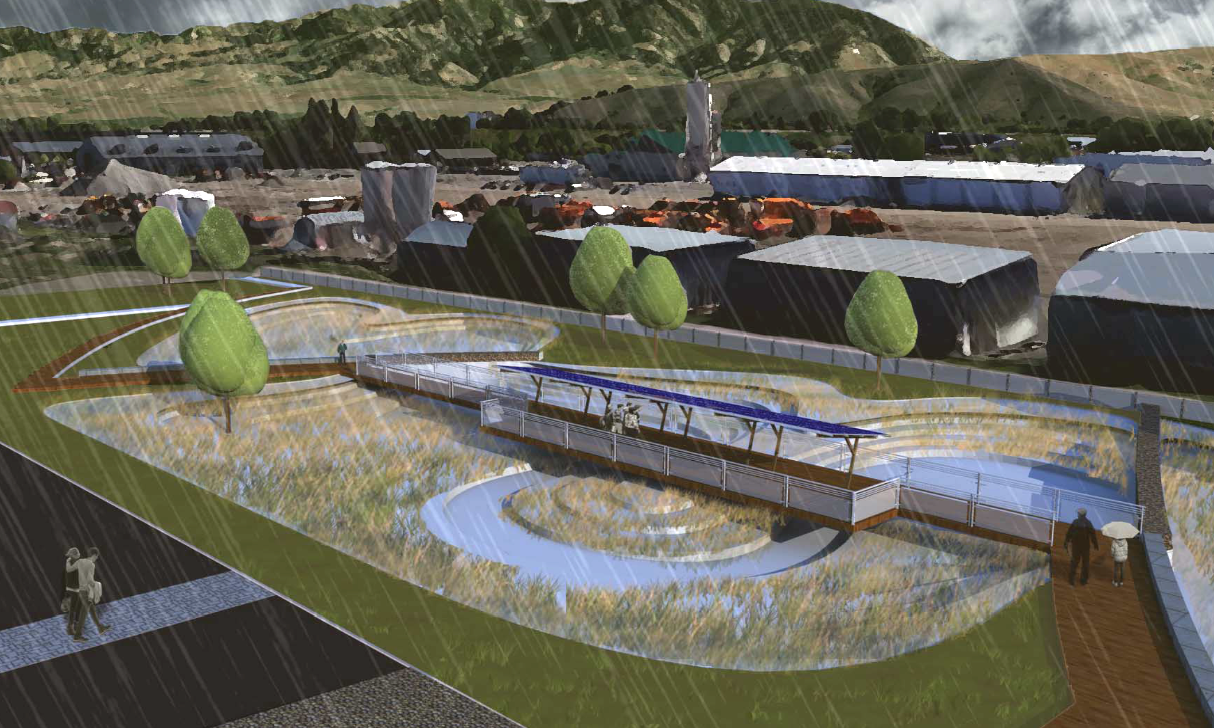 Kyle Anderson's illustration of an infiltration basin designed to treat neighborhood stormwater before enterring Bozeman Creek and create a community amenity.