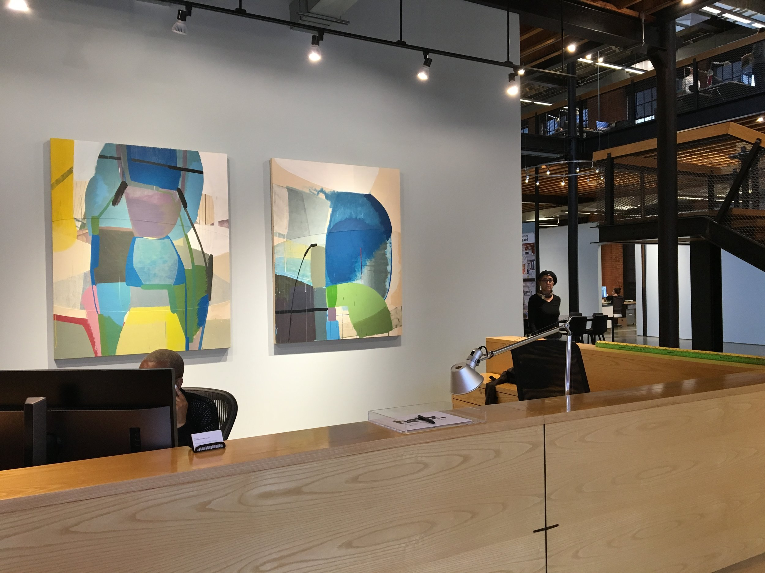 Two paintings on panel installed at Helix Design Group, Kansas City, MO