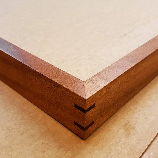 Sapele with Walnut splines. #picture #framing #woodworking